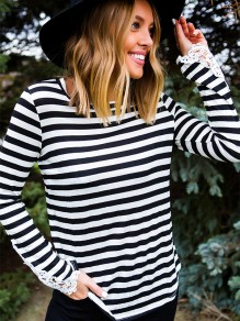 Black White Striped Lace Long Sleeve Fashion T-Shirt