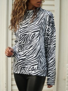 White Leopard Collarless Long Sleeve Fashion T-Shirt