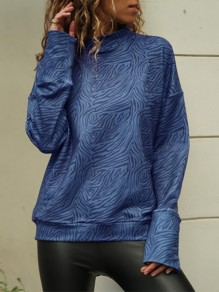 Blue Leopard Collarless Long Sleeve Fashion T-Shirt