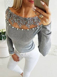 Grey Patchwork Pearl Grenadine Embroidery Boat Neck Long Sleeve Fashion T-Shirt