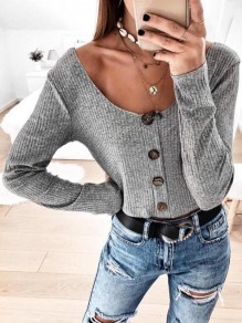Grey Buttons Round Neck Long Sleeve Fashion T-Shirt