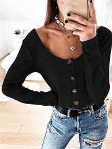 Black Buttons Round Neck Long Sleeve Fashion T-Shirt