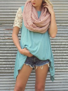 Light Blue Patchwork Lace Cut Out Irregular Round Neck Short Sleeve Casual T-Shirt