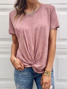 Pink Irregular Round Neck Short Sleeve Fashion T-Shirt