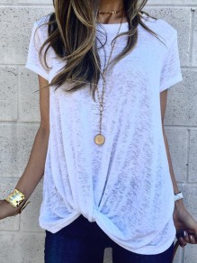 White Irregular Round Neck Short Sleeve Fashion T-Shirt