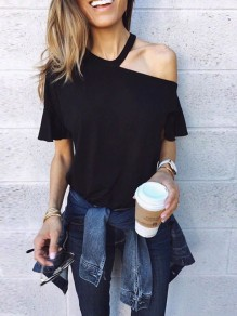 Black Cut Out Splicing Asymmetric Shoulder Short Sleeve Streetwear T-Shirt
