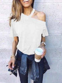 White Cut Out Splicing Asymmetric Shoulder Short Sleeve Streetwear T-Shirt
