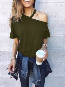 Army Green Cut Out Splicing Asymmetric Shoulder Short Sleeve Streetwear T-Shirt