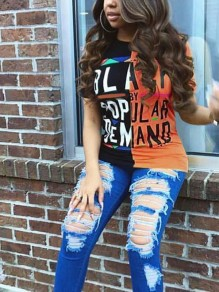 Orange Monogram BLACK POPULAR DEMAND Print Going out Casual T-Shirt