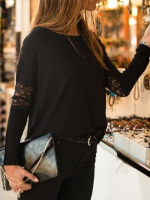 Black Patchwork Lace Long Sleeve Fashion T-Shirt