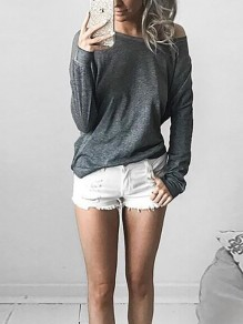 Grey Asymmetric Shoulder Round Neck Long Sleeve Casual T-Shirt