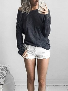 Dark Grey Asymmetric Shoulder Round Neck Long Sleeve Casual T-Shirt