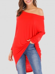 Red Patchwork Asymmetric Shoulder Irregular Long Sleeve Fashion T-Shirt