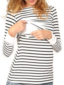 White Striped Print Round Neck Long Sleeve Fashion Maternity T-Shirt