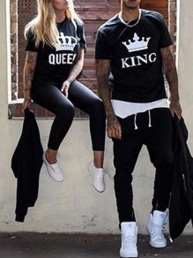 Couple t-shirt monogram king manches courtes mode homme top noir