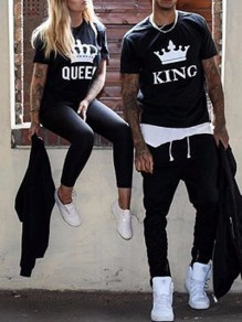 Couple t-shirt monogram queen manches courtes mode femme top noir