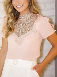 Pink Patchwork Cut Out Lace Round Neck Elegant T-Shirt
