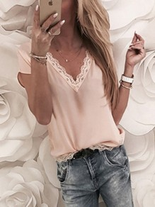 Khaki Patchwork Lace V-neck Short Sleeve Going out T-Shirt