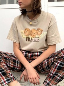"Khaki Patchwork Print Letter ""FRAGLLE"" Angle Short Sleeve Fashion T-Shirt"