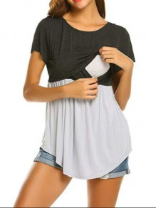 Grey Patchwork Cut Out Short Sleeve Oversized Maternity T-Shirt