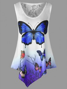 Blue Patchwork Lace Flowers Print Round Neck Sleeveless Going out T-Shirt