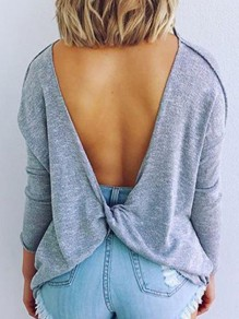 Grey Irregular Backless Round Neck Long Sleeve Fashion T-Shirt