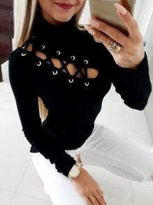 Schwarzes Patchwork Drawstring Studded High Neck Fashion T-Shirt