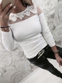 White Patchwork Lace Grenadine Round Neck Long Sleeve Fashion T-Shirt