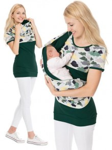 Green Floral Print Irregular Short Sleeve Oversized Maternity T-Shirt