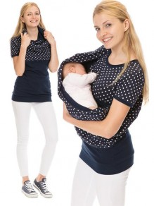 Blue Polka Dot Irregular Short Sleeve Oversized Maternity T-Shirt