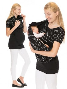 Black Polka Dot Irregular Short Sleeve Oversized Maternity T-Shirt
