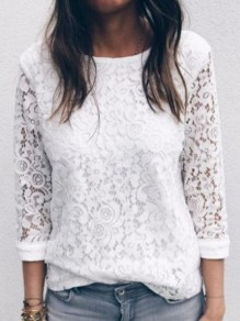 White Lace Buttons Multi Way V-neck 3/4 Sleeve Fashion T-Shirt