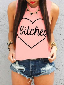 Pink Love Letter Print Round Neck Sleeveless Fashion T-Shirt