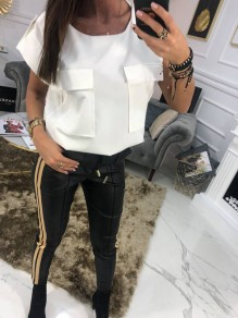 White Pockets Round Neck Short Sleeve Fashion T-Shirt