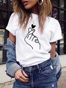 White Love Flowers Print Round Neck Short Sleeve T-Shirt