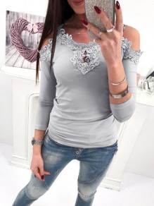 Grey Patchwork Appliques Cut Out Long Sleeve Fashion T-Shirt