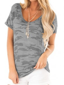 Grey Camouflage Print Round Neck Short Sleeve Loose T-Shirt