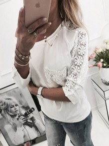 White Patchwork Lace Pockets One-shoulder Round Neck 3/4 Sleeve Fashion T-Shirt