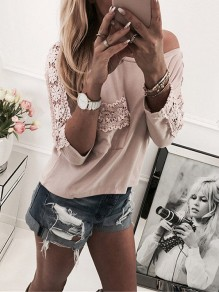 Pink Patchwork Lace Pockets One-shoulder Round Neck 3/4 Sleeve Fashion T-Shirt