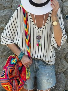 White Striped Print V-neck Half Sleeve Fashion T-Shirt