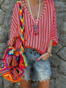 Red Striped Print V-neck Half Sleeve Fashion T-Shirt