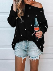 Black Floral Star Print Round Neck Long Sleeve Fashion T-Shirt