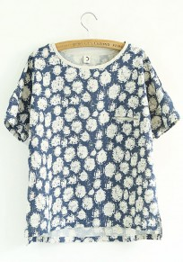 Blue Flowers Pockets Short Sleeve Loose T-Shirt