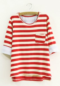 Red Striped Pockets Half Sleeve Loose T-Shirt