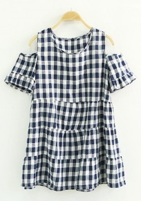 Blue Plaid Print Split Sleeve Loose T-Shirt