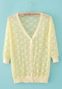 Yellow Flowers V-neck Seven's Sleeve Lace Trench Coat