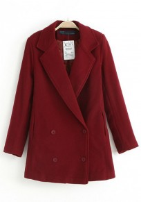 Wine Red Plain Buttons Wool Coat