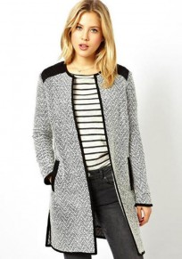 Grey Patchwork Pockets No Button Coat