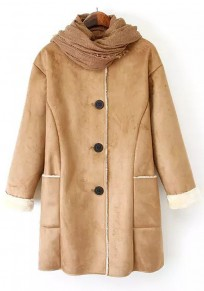 Grey Plain Pockets Suede Coat