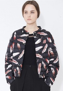 Colorful Feathers Floral Print Padded Coat